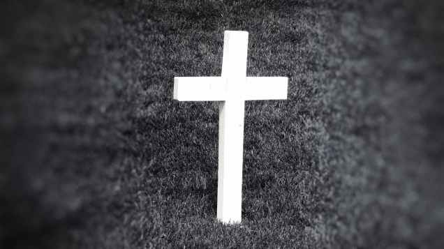 black and white cemetery cross grass